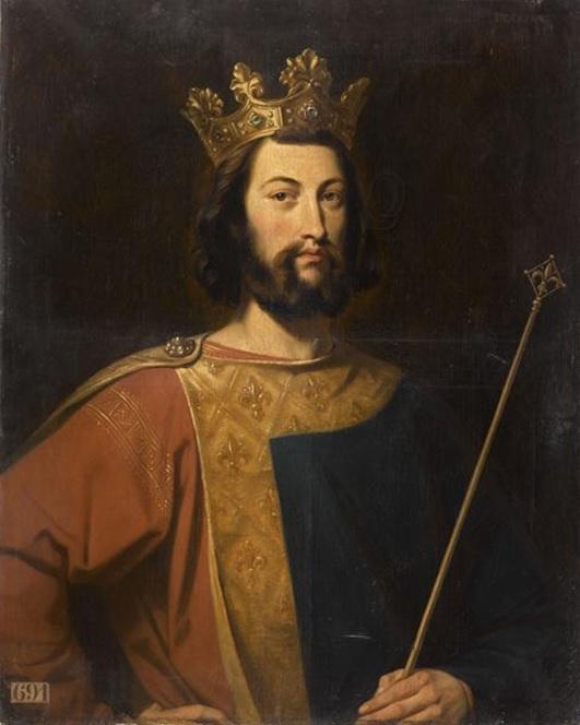 Louis VII with fleur-de-lis emblem